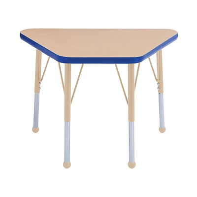 ECR4Kids Thermo-Fused Adjustable 30L x 18W Trapezoid Laminate Activity Table Maple/Blue/Sand (ELR-14218-MPBLSDTB)