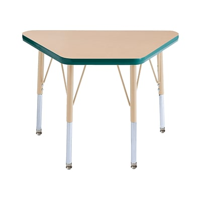 ECR4Kids T-Mold Adjustable 30L x 18W Trapezoid Laminate Activity Table Maple/Green/Sand (ELR-14118-MGNSD-TS)