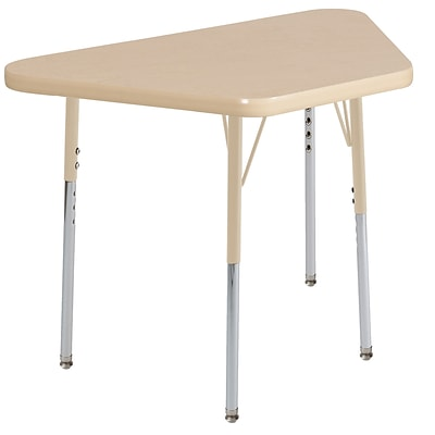 ECR4Kids Thermo-Fused Adjustable 30L x 18W Trapezoid Laminate Activity Table Maple/Maple/Sand (ELR-14218-MPMPSDTS)