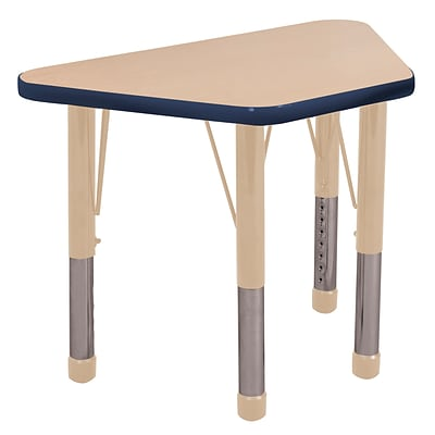 ECR4Kids T-Mold Adjustable 30L x 18W Trapezoid Laminate Activity Table Maple/Navy/Sand (ELR-14118-MNVSD-C)