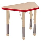 ECR4Kids Thermo-Fused Adjustable 30L x 18W Trapezoid Laminate Activity Table Maple/Red/Sand (ELR-1