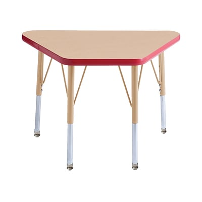 ECR4Kids T-Mold Adjustable 30L x 18W Trapezoid Laminate Activity Table Maple/Red/Sand (ELR-14118-MRDSD-TS)