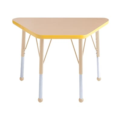 ECR4Kids Thermo-Fused Adjustable 30L x 18W Trapezoid Laminate Activity Table Maple/Yellow/Sand (ELR-14218-MPYESDSB)