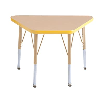 ECR4Kids Thermo-Fused Adjustable 30L x 18W Trapezoid Laminate Activity Table Maple/Yellow/Sand (ELR-14218-MPYESDSS)