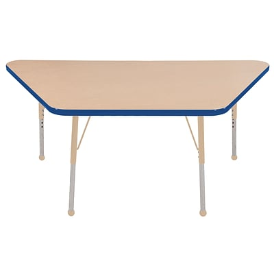 ECR4Kids T-Mold Adjustable 60L x 30W Trapezoid Laminate Activity Table Maple/Blue/Sand (ELR-14119-MBLSD-SB)