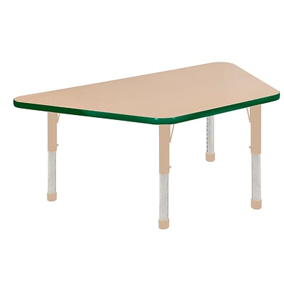 ECR4Kids Thermo-Fused Adjustable 60L x 30W Trapezoid Laminate Activity Table Maple/Green/Sand (ELR-14219-MPGNSDCH)