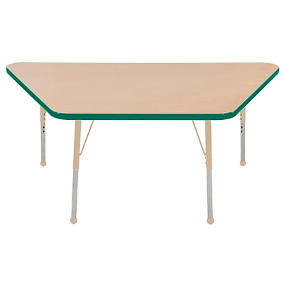 ECR4Kids Thermo-Fused Adjustable 60L x 30W Trapezoid Laminate Activity Table Maple/Green/Sand (ELR-14219-MPGNSDSB)