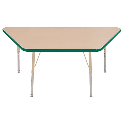 ECR4Kids Thermo-Fused Adjustable 60L x 30W Trapezoid Laminate Activity Table Maple/Green/Sand (ELR-14219-MPGNSDSS)