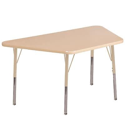 ECR4Kids Thermo-Fused Adjustable 60L x 30W Trapezoid Laminate Activity Table Maple/Maple/Sand (ELR-14219-MPMPSDSS)
