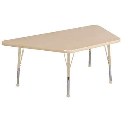 ECR4Kids T-Mold Adjustable 60L x 30W Trapezoid Laminate Activity Table Maple/Maple/Sand (ELR-14119-MMSD-TB)