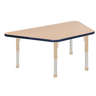ECR4Kids Thermo-Fused Adjustable 60L x 30W Trapezoid Laminate Activity Table Maple/Navy/Sand (ELR-14219-MPNVSDCH)