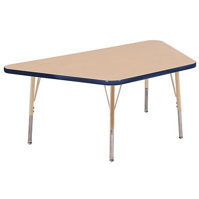 ECR4Kids Thermo-Fused Adjustable 60L x 30W Trapezoid Laminate Activity Table Maple/Navy/Sand (ELR-14219-MPNVSDSS)