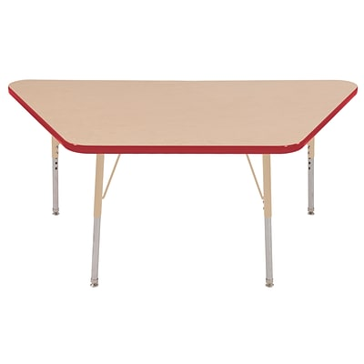 ECR4Kids Thermo-Fused Adjustable 60L x 30W Trapezoid Laminate Activity Table Maple/Red/Sand (ELR-14219-MPRDSDSS)