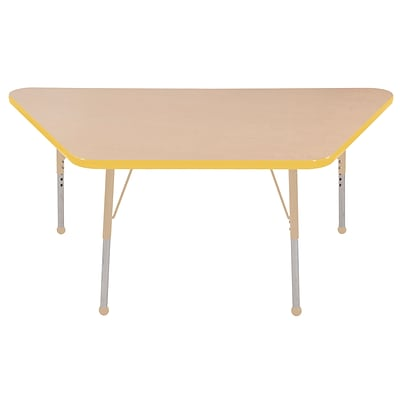 ECR4Kids T-Mold Adjustable 60L x 30W Trapezoid Laminate Activity Table Maple/Yellow/Sand (ELR-14119-MYESD-SB)