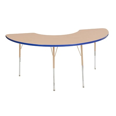 ECR4Kids Thermo-Fused Adjustable 72L x 36W Half Moon Laminate Activity Table Maple/Blue/Sand (ELR-14220-MPBLSDTS)