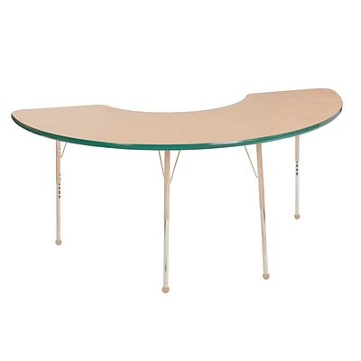 ECR4Kids T-Mold Adjustable 72L x 36W Half Moon Laminate Activity Table Maple/Green/Sand (ELR-14120-MGNSD-SB)