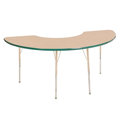 ECR4Kids T-Mold Adjustable 72L x 36W Half Moon Laminate Activity Table Maple/Green/Sand (ELR-14120-MGNSD-SS)