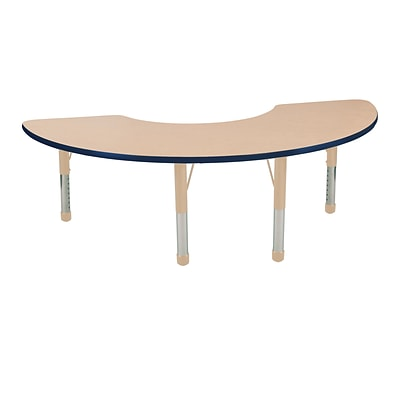 ECR4Kids T-Mold Adjustable 72L x 36W Half Moon Laminate Activity Table Maple/Navy/Sand (ELR-14120-MNVSD-C)