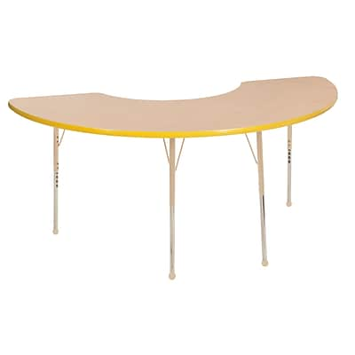 ECR4Kids T-Mold Adjustable 72L x 36W Half Moon Laminate Activity Table Maple/Yellow/Sand (ELR-14120-MYESD-TB)