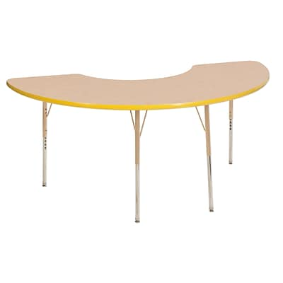 ECR4Kids T-Mold Adjustable 72L x 36W Half Moon Laminate Activity Table Maple/Yellow/Sand (ELR-14120-MYESD-TS)