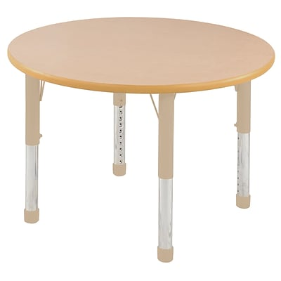 ECR4Kids Thermo-Fused Adjustable 30 Round Laminate Activity Table Maple/Maple/Sand (ELR-14221-MPMPSDCH)