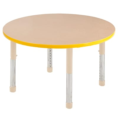 ECR4Kids Thermo-Fused Adjustable 30 Round Laminate Activity Table Maple/Yellow/Sand (ELR-14221-MPYESDCH)