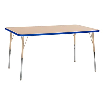 ECR4Kids T-Mold Adjustable 60L x 36W Rectangle Laminate Activity Table Maple/Blue/Sand (ELR-14122-MBLSD-SS)
