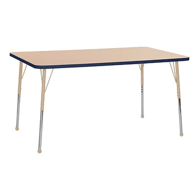ECR4Kids Thermo-Fused Adjustable 60L x 36W Rectangle Laminate Activity Table Maple/Navy/Sand (ELR-14222-MPNVSDTB)
