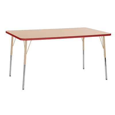 ECR4Kids T-Mold Adjustable 60L x 36W Rectangle Laminate Activity Table Maple/Red/Sand (ELR-14122-MRDSD-TS)