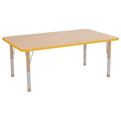ECR4Kids T-Mold Adjustable 60L x 36W Rectangle Laminate Activity Table Maple/Yellow/Sand (ELR-14122-MYESD-C)