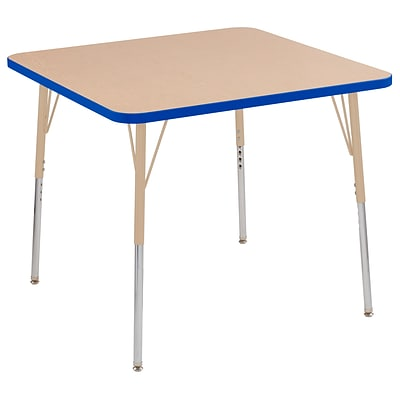 ECR4Kids T-Mold Adjustable Swivel 36 Square Laminate Activity Table Maple/Blue/Sand (ELR-14123-MBLSD-SS)
