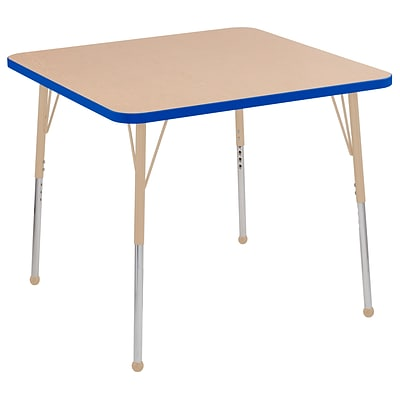 ECR4Kids T-Mold Adjustable Ball 36 Square Laminate Activity Table Maple/Blue/Sand (ELR-14123-MBLSD-TB)