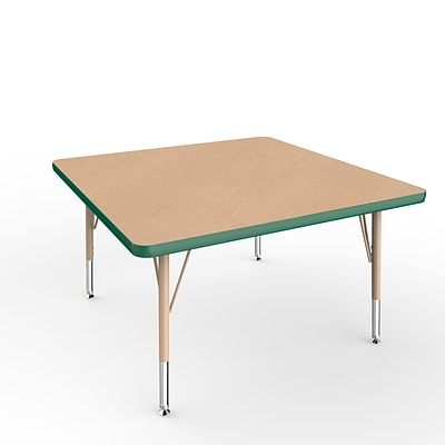 ECR4Kids T-Mold Adjustable Swivel 36 Square Laminate Activity Table Maple/Green/Sand (ELR-14123-MGNSD-TS)