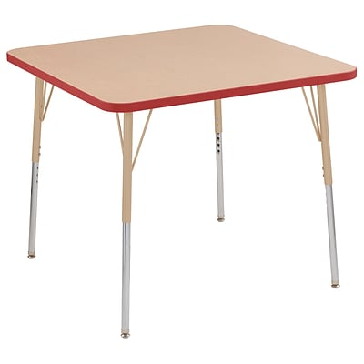 ECR4Kids T-Mold Adjustable Swivel 36 Square Laminate Activity Table Maple/Red/Sand (ELR-14123-MRDSD-SS)