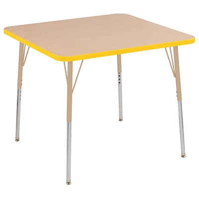 ECR4Kids T-Mold Adjustable Swivel 36 Square Laminate Activity Table Maple/Yellow/Sand (ELR-14123-MYESD-TS)