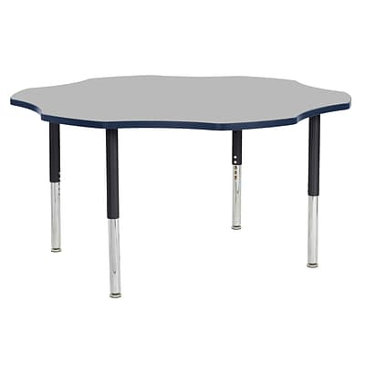 ECR4Kids T-Mold Adjustable 60 Flower Laminate Activity Table Grey/Navy/Black (ELR-14102-GNVBK-SL)