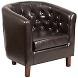 Flash Furniture Leather Barrel Chair Brown (QYB16HY90304BN)