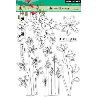 Penny Black Delicate Flowers Clear Stamps, 5 x 7 (PB30431)