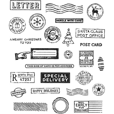 Stampers Anonymous Holiday Postmarks Tim Holtz Cling Stamps, 7 x 8.5 (CMS-LG-323)