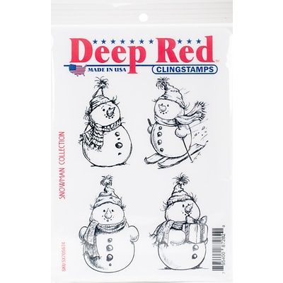 Deep Red Stamps, Snowman Collection Cling Stamp, 4 x 6 (5X705674)
