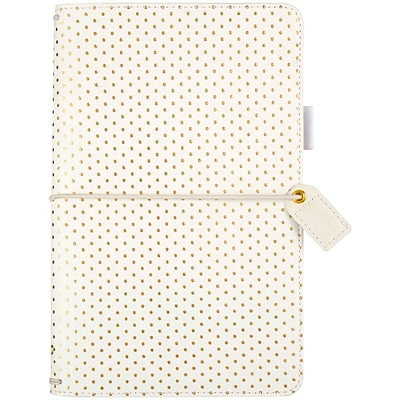 Websters Pages Gold Polka Dots Color Crush Faux Leather Travelers Planner, 5.75X8 (TJ001-GD)