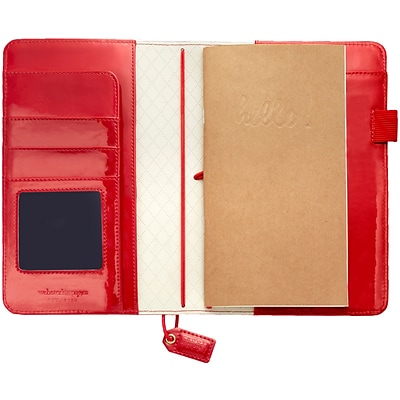 Websters Pages Patent Red Color Crush Faux Leather Travelers Planner, 5.75X8 (TJ001-PTR)