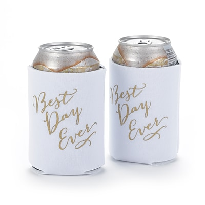 Hortense B. Hewitt Best Day Ever Can Coolers, White, Set of 2 (55136ST)