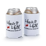 Hortense B. Hewitt To Have & To Hold Can Coolers, White, Set of 2 (55142ST)