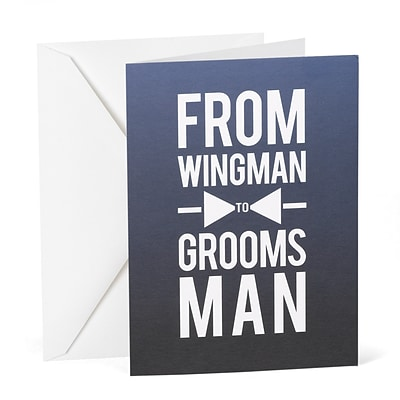 Hortense B. Hewitt From Wingman to Groomsman Wedding Day Card, Blue (54832ST)