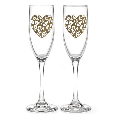 Hortense B. Hewitt Geo Heart 6oz Flutes, Set of 2 (54849ST)