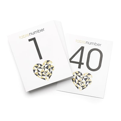 Hortense B. Hewitt Geo Heart Table Number Cards, 40 Pack (54852ST)