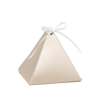 Hortense B. Hewitt Pyramid Favor Box, Gold Shimmer, 25 Pack (54877ST)