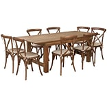 Flash Furniture 7x40 Farm Table 8 Chair Set Pine Wood (XAFARM10)