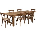 Flash Furniture 8x40 Farm Table 6 Chair Set Pine Wood (XAFARM11)